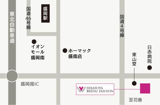ヒラトヤブライダルファッションの所在地